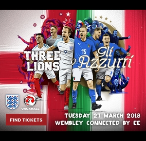 Watch England v Italy at Wembley on Tuesday 27 March